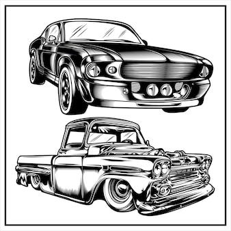 Set grafico illustrazione auto d'epoca vol 5