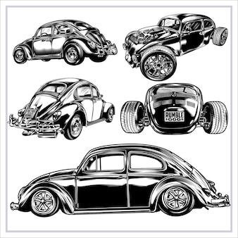 Set grafico illustrazione auto d'epoca vol 6