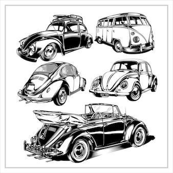 Impostare la grafica dell'illustrazione di auto d'epoca vol1