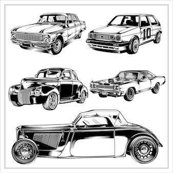 Impostare la grafica dell'illustrazione di auto d'epoca vol2