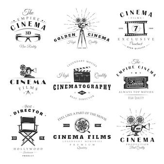 Set di etichette del cinema d'epoca. poster, francobolli, striscioni ed elementi di design.
