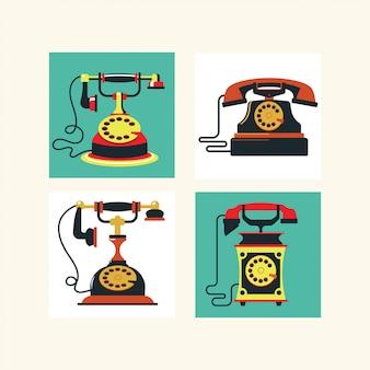 L'insieme dell'illustrazione classica d'annata dei telefoni