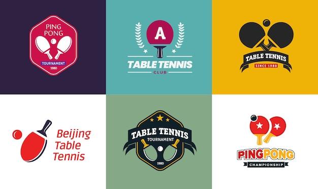 Set di loghi vintage da ping pong a colori