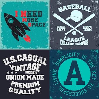 Set di stampa di design vintage per timbro t-shirt, applique per maglietta, tipografia di moda, badge, abbigliamento per etichette, jeans e abbigliamento casual. illustrazione vettoriale