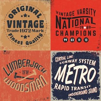 Set di stampe di design vintage per t-shirt stamp, t-shirt, tipografia di moda, badge, etichette di abbigliamento, jeans e abbigliamento casual.