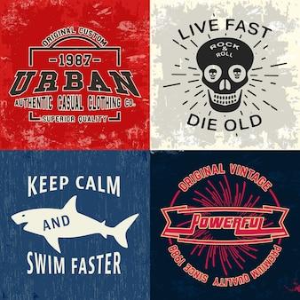 Set di stampa di design vintage per timbro t-shirt