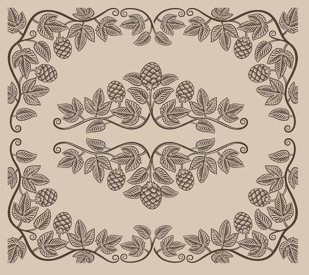 Set di elementi vintage di rami di luppolo e bordi per la decorazione o il marchio di alcol su sfondo bianco.