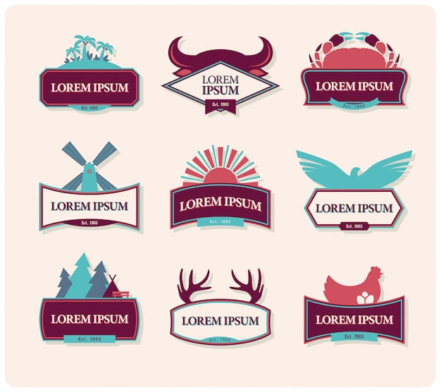 Set di badge emblema vintage