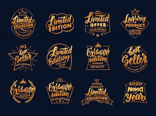 Set di badge vintage in edizione esclusiva e limitata, modelli su sfondo nero isolato