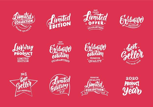 Insieme dell'edizione esclusiva e limitata dell'annata, distintivi del prodotto di lusso, modelli su fondo rosso isolato