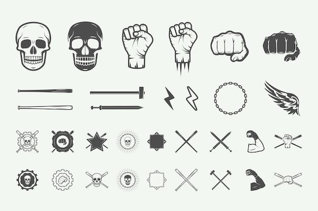 Set di etichette vintage con logo di combattimento o arti marziali, emblema distintivo ed elementi di design in stile retrò
