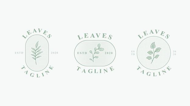 Set di design vintage logo floreale