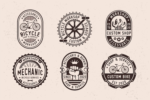 Set di accessori e parti di biciclette da garage vintage