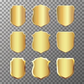 Set di etichette e distintivi dorati vintage