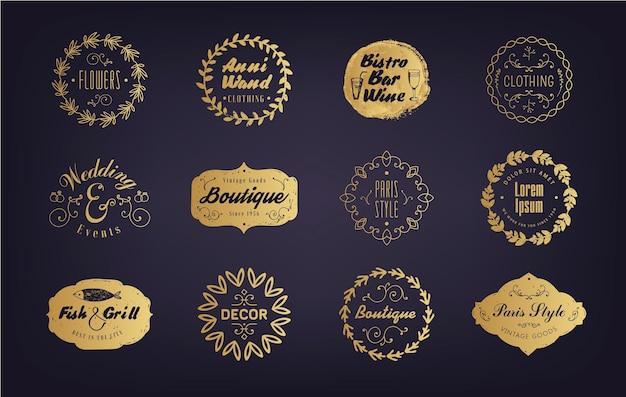 Set di badge aziendali dorati vintage, loghi, etichette di negozi, bar, boutique, ecc