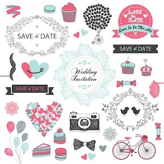 Set di elementi di design invito matrimonio vintage, disegnati a mano