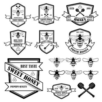 Set di modello di etichette di miele vintage
