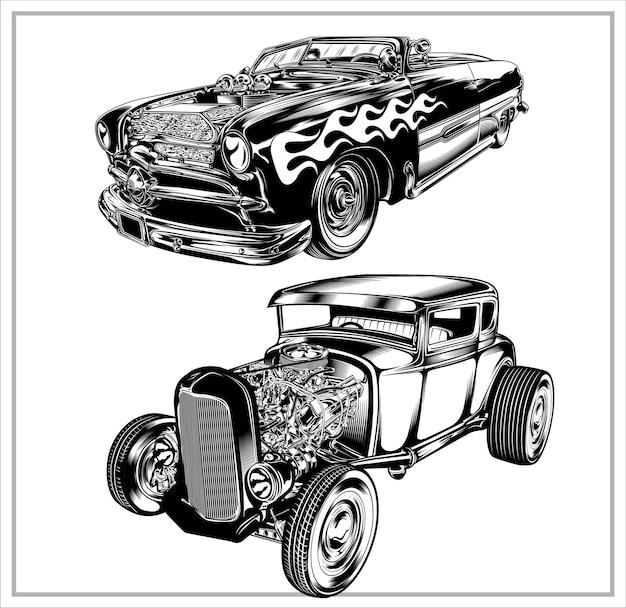 Impostare la grafica dell'illustrazione hotroad vintage vol1