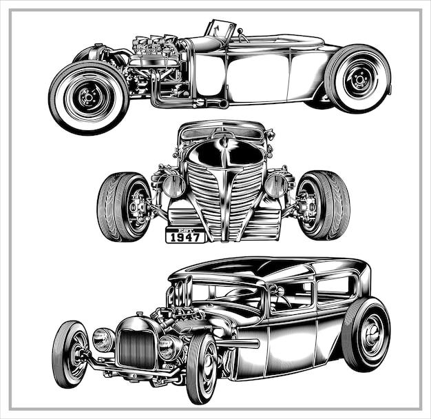 Set grafico illustrazione vintage hotrod vol 2