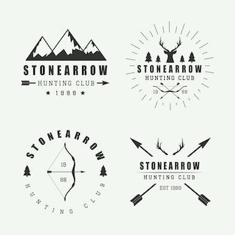 Set di etichette, loghi e distintivi da caccia vintage