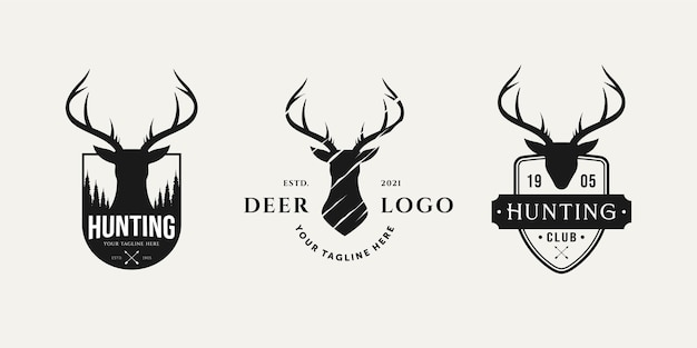 Set di logo vintage da caccia con design di illustrazione vettoriale di logo distintivo testa di cervo
