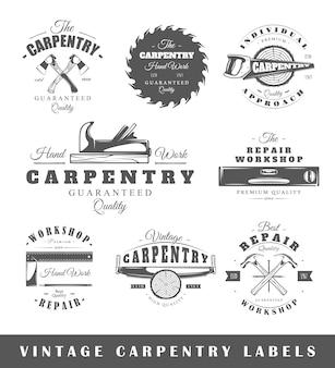 Set di falegnameria di etichette d'epoca.