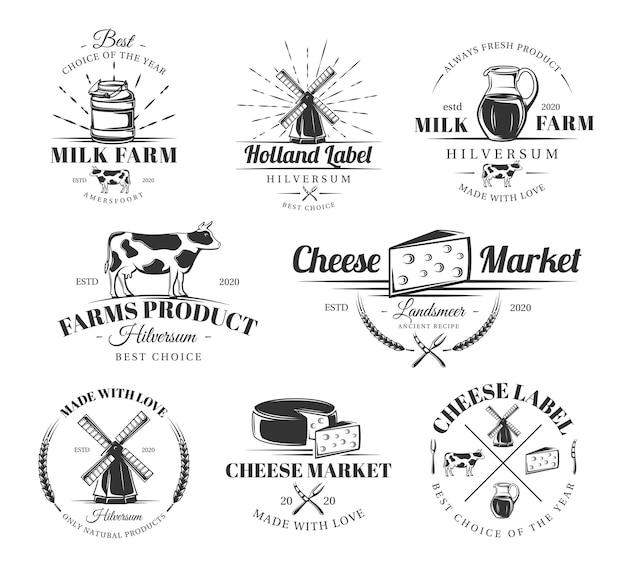 Set di etichette vintage formaggio. poster, francobolli, striscioni ed elementi.
