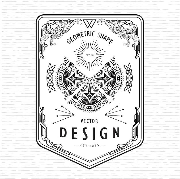 Set di elementi art deco di design retrò di forma geometrica linea sottile lineare vintage con angolo del distintivo del telaio