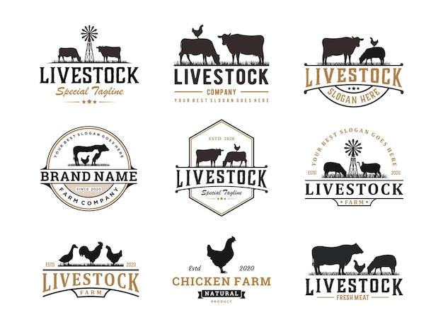 Set di design del logo del bestiame vintage