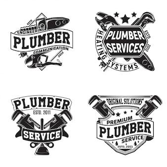 Set di disegni grafici logo vintage, francobolli stampati, emblemi di tipografia idraulici, design creativo,
