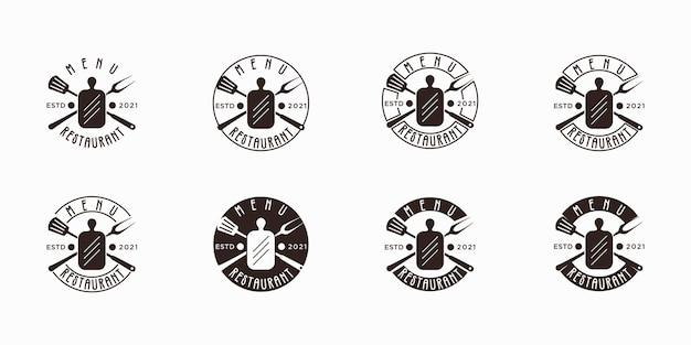 Set di menu ristorante etichetta logo vintage, ispirazione per il branding menu barbecue.