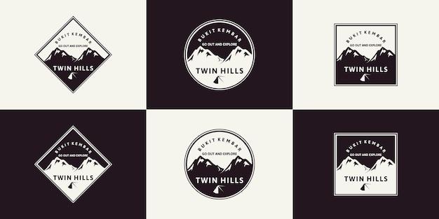 Set di ispirazione per la montagna con logo vintage