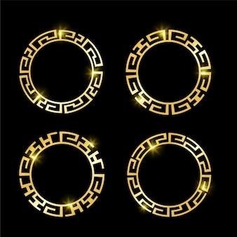 Set di cornici per bordi greci di epoca antica dorata di lusso vintage per la decorazione del logo