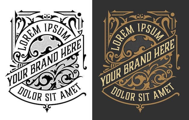 Set di logo di lusso vintage