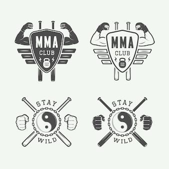 Set di arti marziali miste vintage o loghi di club di combattimento