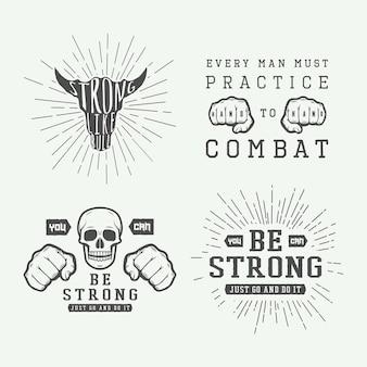 Set di poster di combattimento motivazionali e di ispirazione vintage in stile retrò arte grafica monocromatica