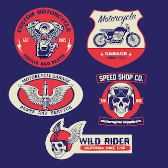 Set di design distintivo moto d'epoca