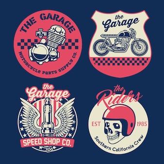 Set di badge moto d'epoca
