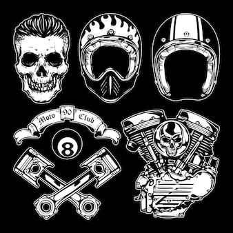 Set di elementi di design moto d'epoca