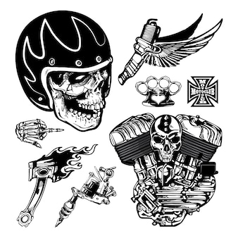 Set di elementi vintage moto