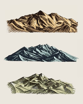 Set di vintage, antica incisione con picchi di montagne in mano drawh stile di schizzo diverse versioni e colori