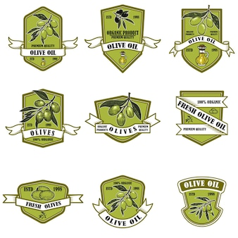 Set di emblemi vintage di olio d'oliva.