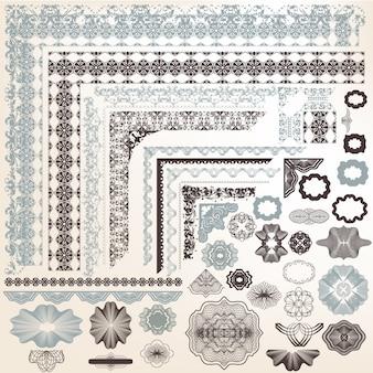 Insieme dei bordi ornamentali d'epoca