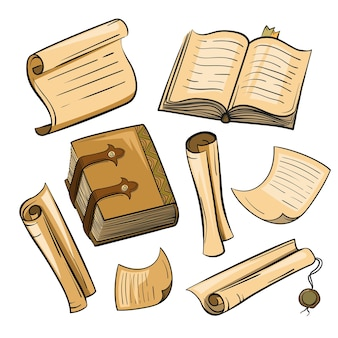 Set di carta vintage, libri, pergamene. illustrazione nello stile dello schizzo.