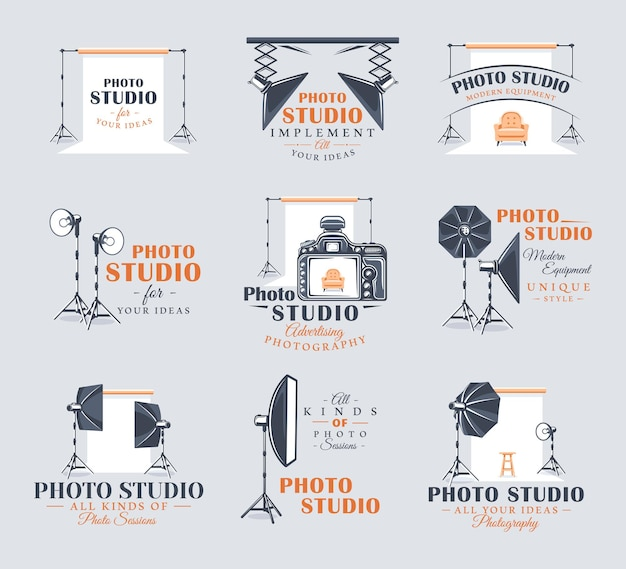 Set di etichette per studio fotografico vintage