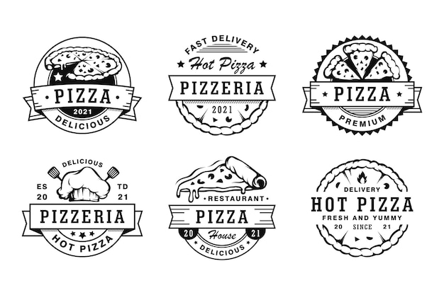 Set di emblemi e logo di distintivi per pizza vintage
