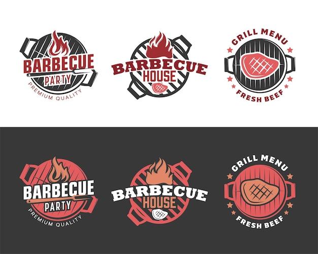 Set di vintage retrò barbecue grill barbecue barbecue logo