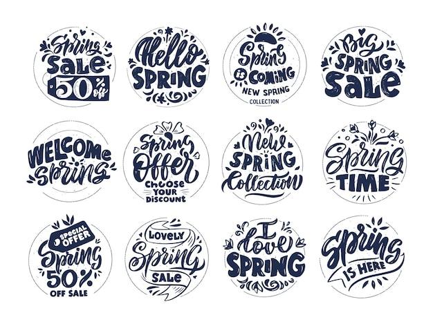 Set di scritte primaverili vintage, saldi primaverili, ciao primavera. collezione