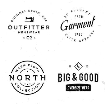 Set di adesivi vintage sul tema dell'abbigliamento.