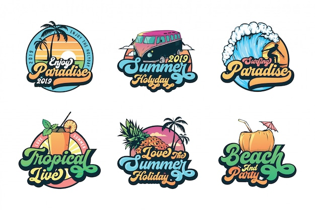Set di etichette, emblemi e logo vintage estate distintivi